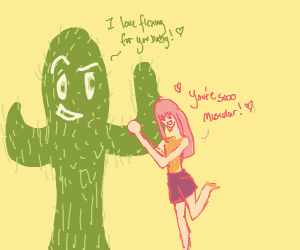 Girl madly in love with a cactus w/ a flower