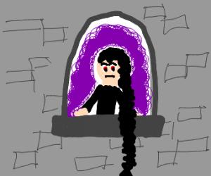 Evil Rapunzel has a purple aura