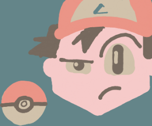 Older Ash Ketchum confused by a pokeball