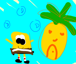 Spongebob by his house