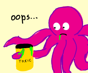 Pink octopus accidentally drinks toxic waste