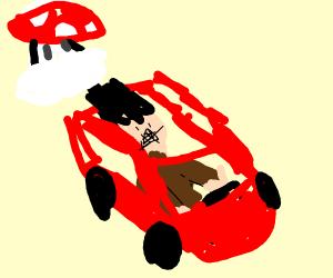 man drives away from mushroom cloud