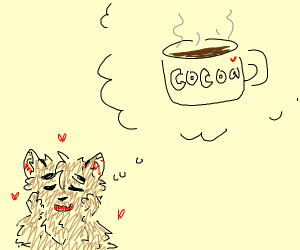 Furry thinks of hot coco
