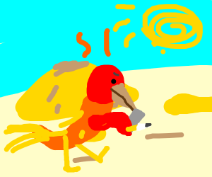 Phoenix Wright walking into a desert