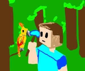 steve mines a parrot
