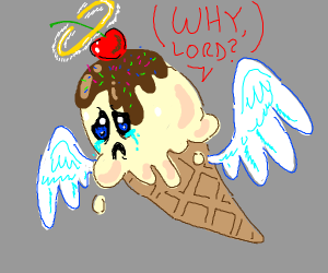 """Ice cream with angel wings asks, """"Why Lord?"""""""