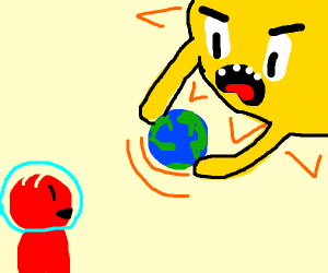 red guy smirks @ earth being destroyed by sun