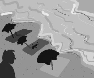 gray people by a black ocean on beach
