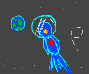 blue parrot with heart on chest in space