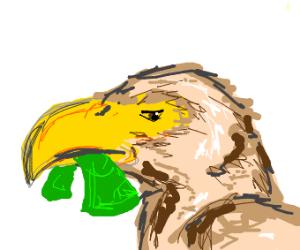 Eagle with a dollar bill