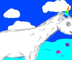 Unicorn with long neck