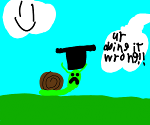 snail wears top hat wrong, is sad