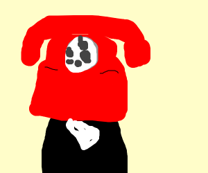 man with a phone for a face