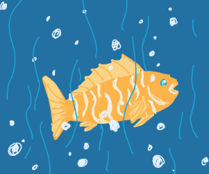 A yellow fish with white strips in a ocean