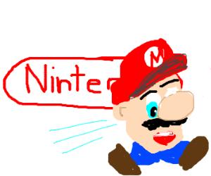 Mario's head running past the Nintendo logo?