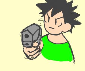 Anime guy pretending to hold a gun