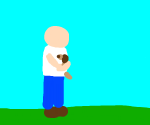 Man wearing pants backwards holding a dog