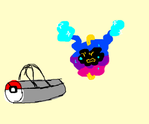 Cosmog asks a duffel bag for help
