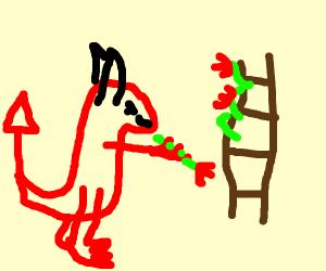 satan rosing a ladder