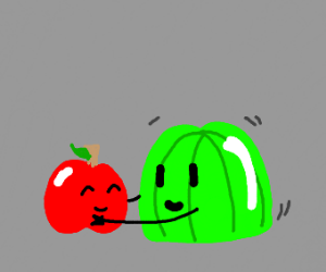 green jello hugging apple
