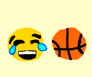 laughing crying emoji laughing at basketball