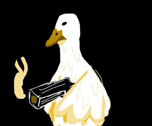 Duck finds a gun