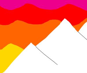 Mountains + Sunset. (Mountain Sunset)