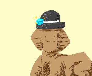 A Sphinx Wearing a Hat with a Jewel