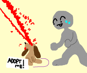 puppy up for adoption uses laser eyes