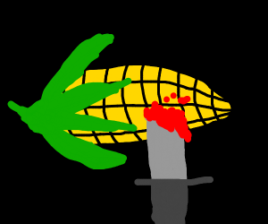 someone stabbed a corn cob & it bled