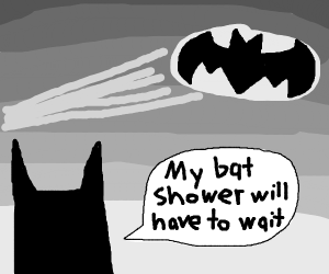 Batman looking at the bat signal