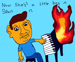 Man playing A piano that's on fire