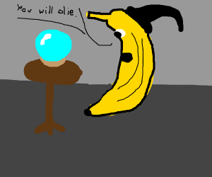 Banana tells your fortune from crystal ball