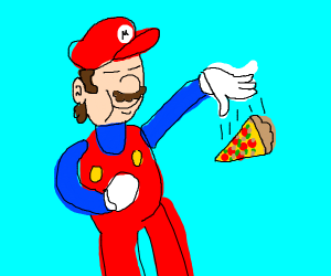 Happy man eating pizza, but throwing it away
