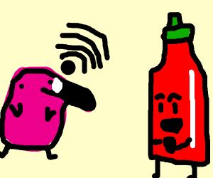 Flamingo produces WiFi. Hot sauce is amused