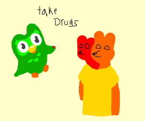 owl person offering double head fox guy drug