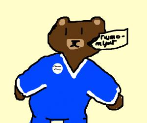 Giant bear wearing blue jumsuit tries to talk