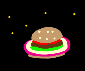 BURGER PLANET WITH SATURN RING MADE OF ONION