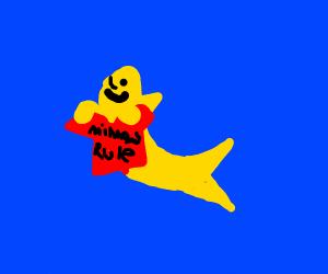 Minnow holding a shirt