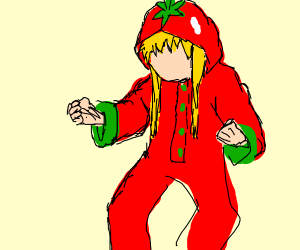 Girl in tomato onesie pjs