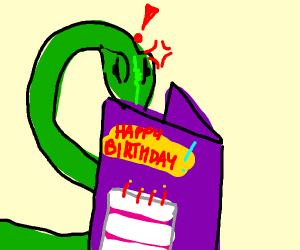 Snake hates birthday cards