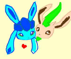 Leafeon and Glaceon in love