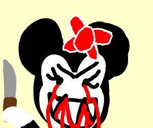 Scary Minnie Mouse with knife and blood
