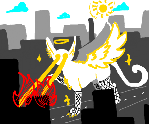 Angel cat with smexy legs firing a lazer from