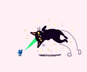 Cat unicorn hybrid impales mouse