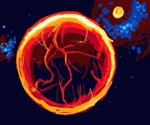 A planet in early stages (Very fiery)