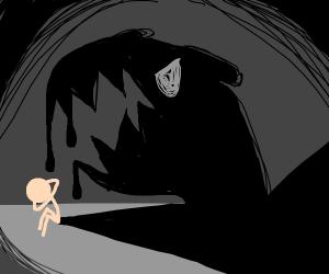 A person afraid