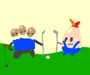 a very bald man playing golf with a egg