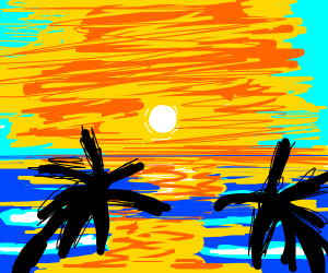 sunset over the ocean with palm trees
