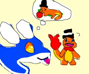 Blue dragon wants to eat a fancy Charmander